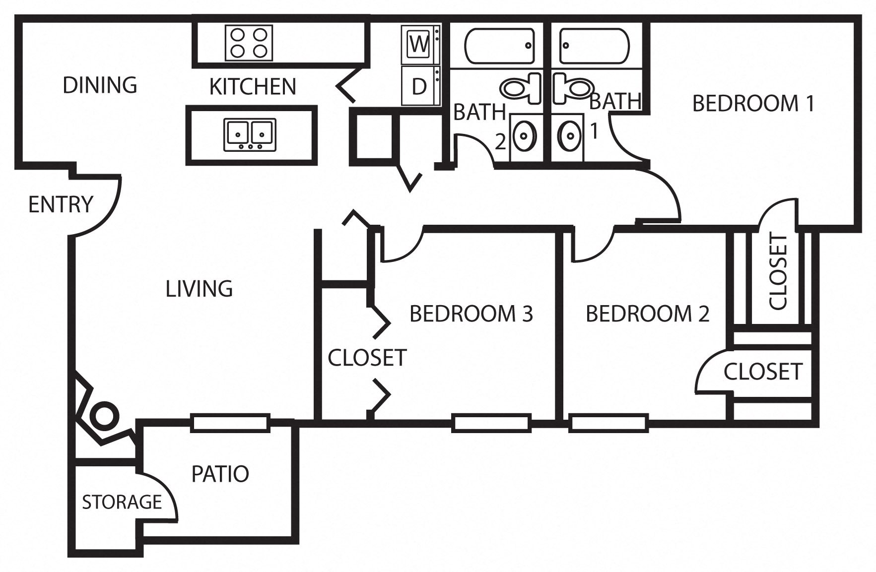 3A | Three Bedroom Floor Plan 5