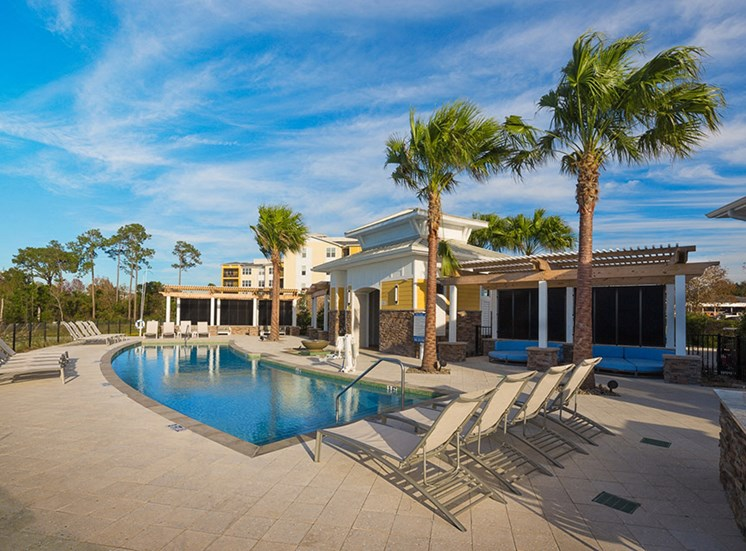 Swimming Pool with Lounge Chairs at Lake Vue, 7119 Sand Lake Reserve Drive, Orlando