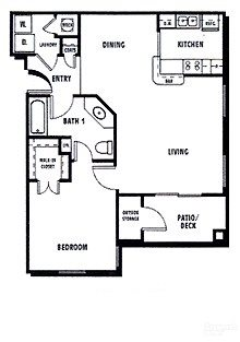 1Bed1Bath Floor Plan 1