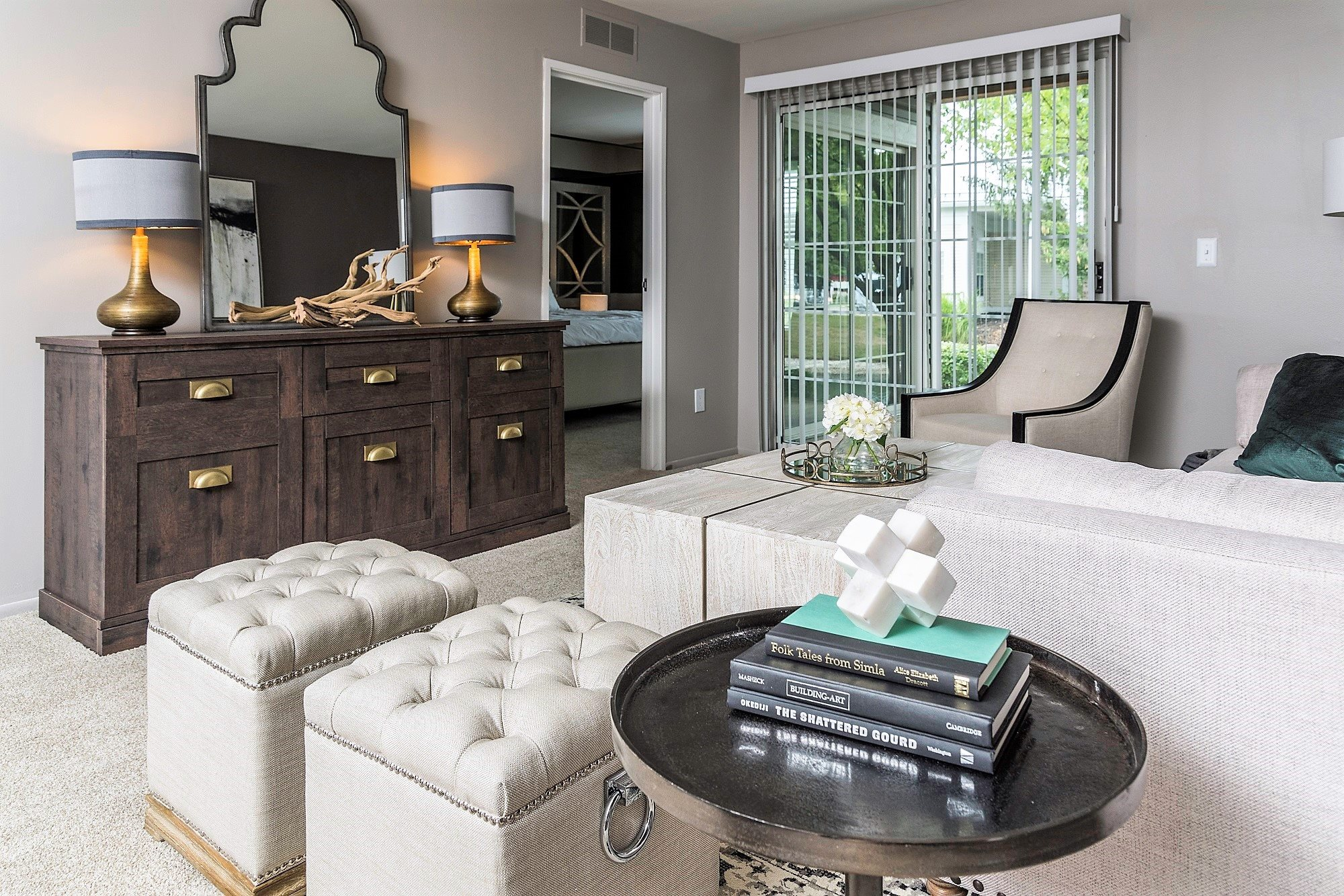 Open Living Area with Bay Window at the Haven of Ann Arbor, 459 Village Green Blvd, Ann Arbor