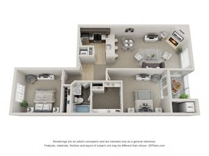 B4 3D Floor Plan at the Haven of Ann Arbor, MI, 48105