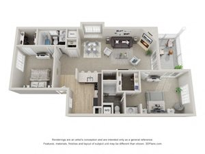 B6 3D Floor Plan at the Haven of Ann Arbor, MI, 48105