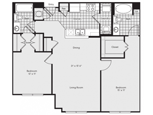 B1B Floor Plan at Reserve at Lavista Walk, 1155 Lavista Walk NE, 30324