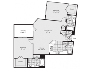 B2A Floor Plan at Reserve at Lavista Walk, Georgia 30324