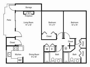 2 Bedroom, 2 Bath 1,036 sq. ft.