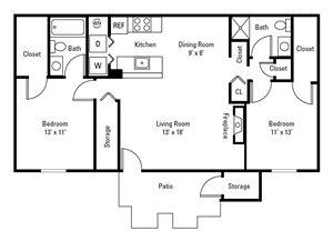 2 Bedroom, 2 Bath 991 sq. ft.