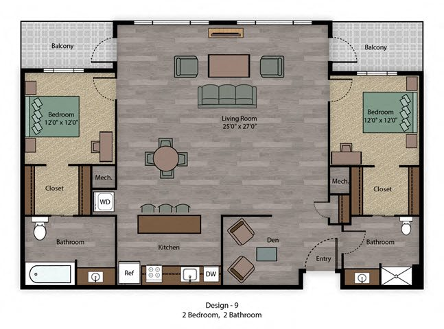 City Scape 2B Floorplan at Capitol District, Omaha, 68102