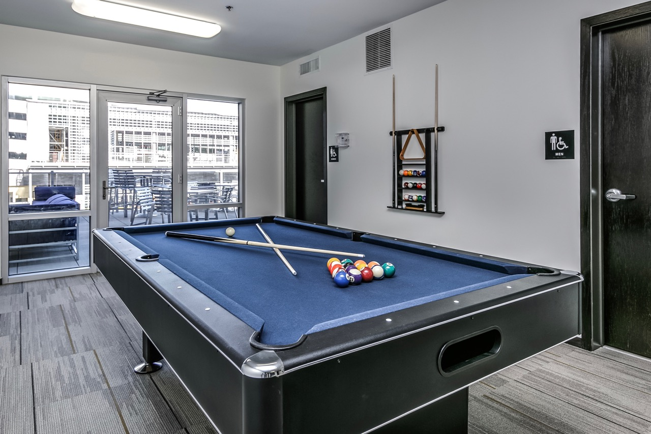 resident lounge with billiards at Capitol District, Omaha, 68102