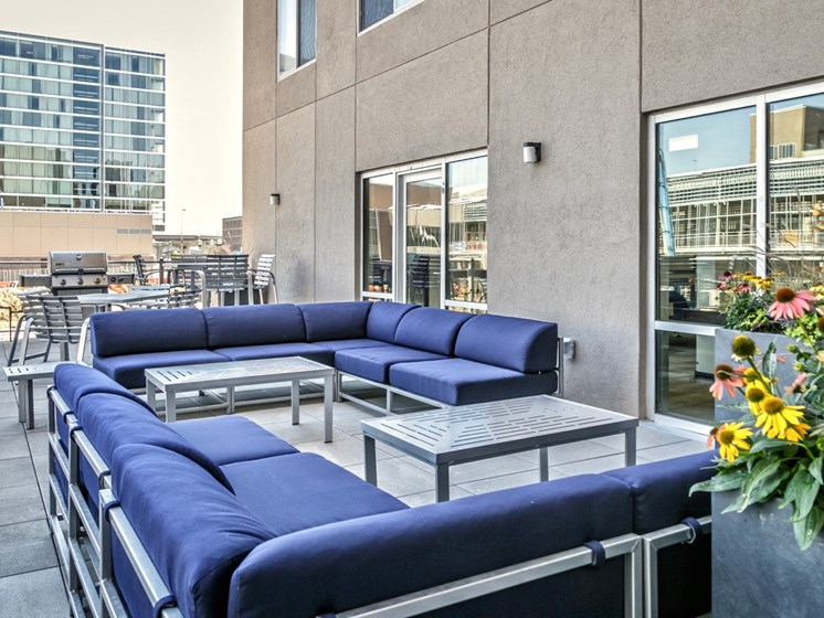 Outdoor resident lounge at Capitol District, Omaha, 68102
