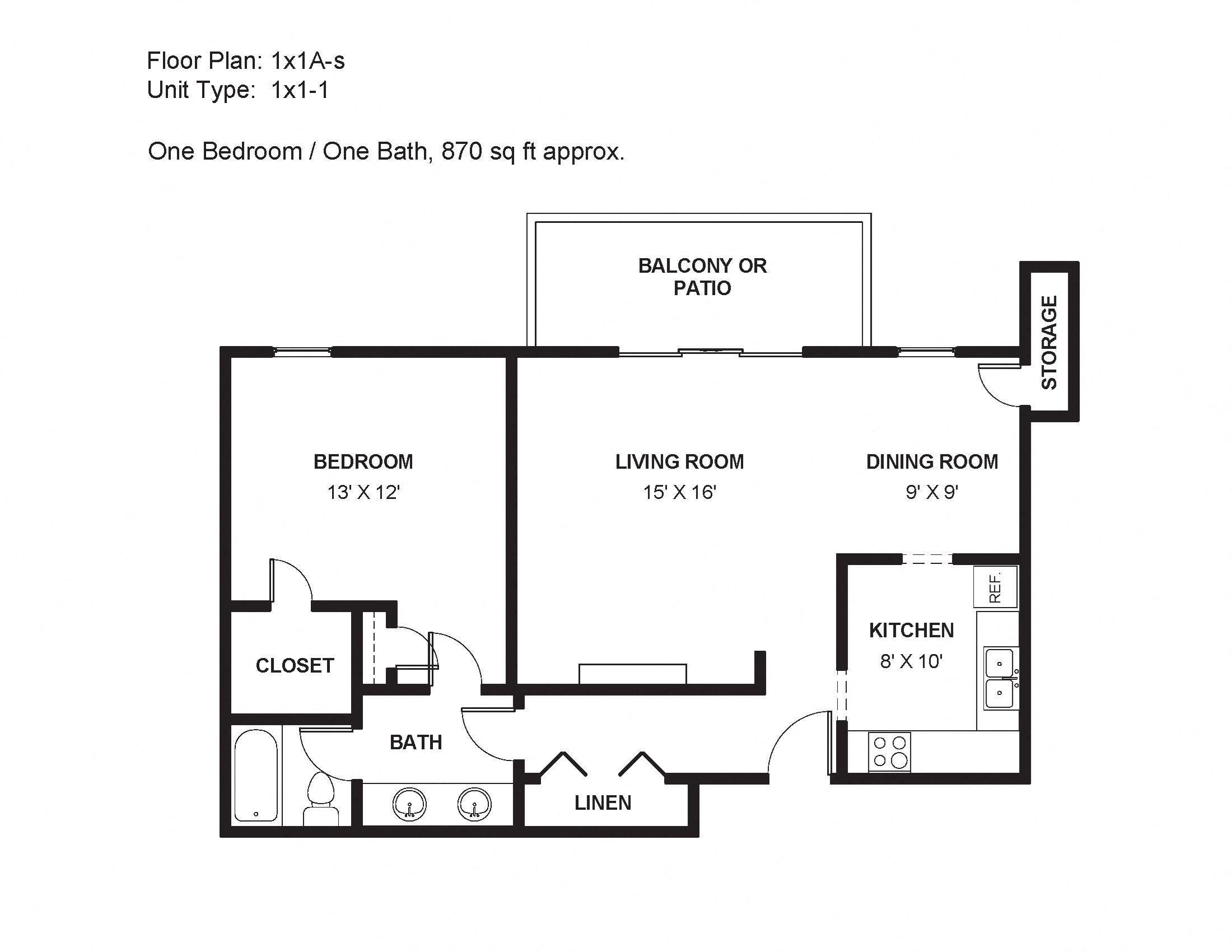1x1A-s Floor Plan 2