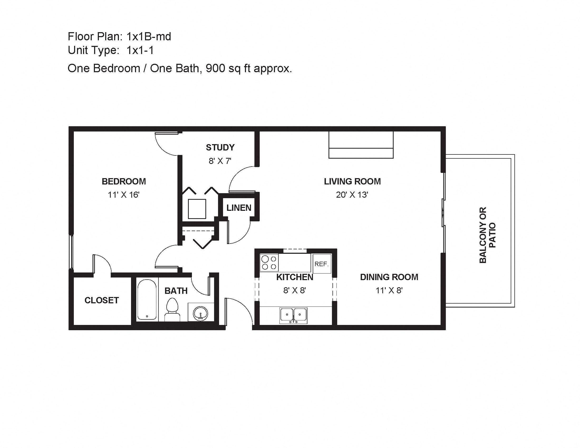 1x1B-md Floor Plan 3