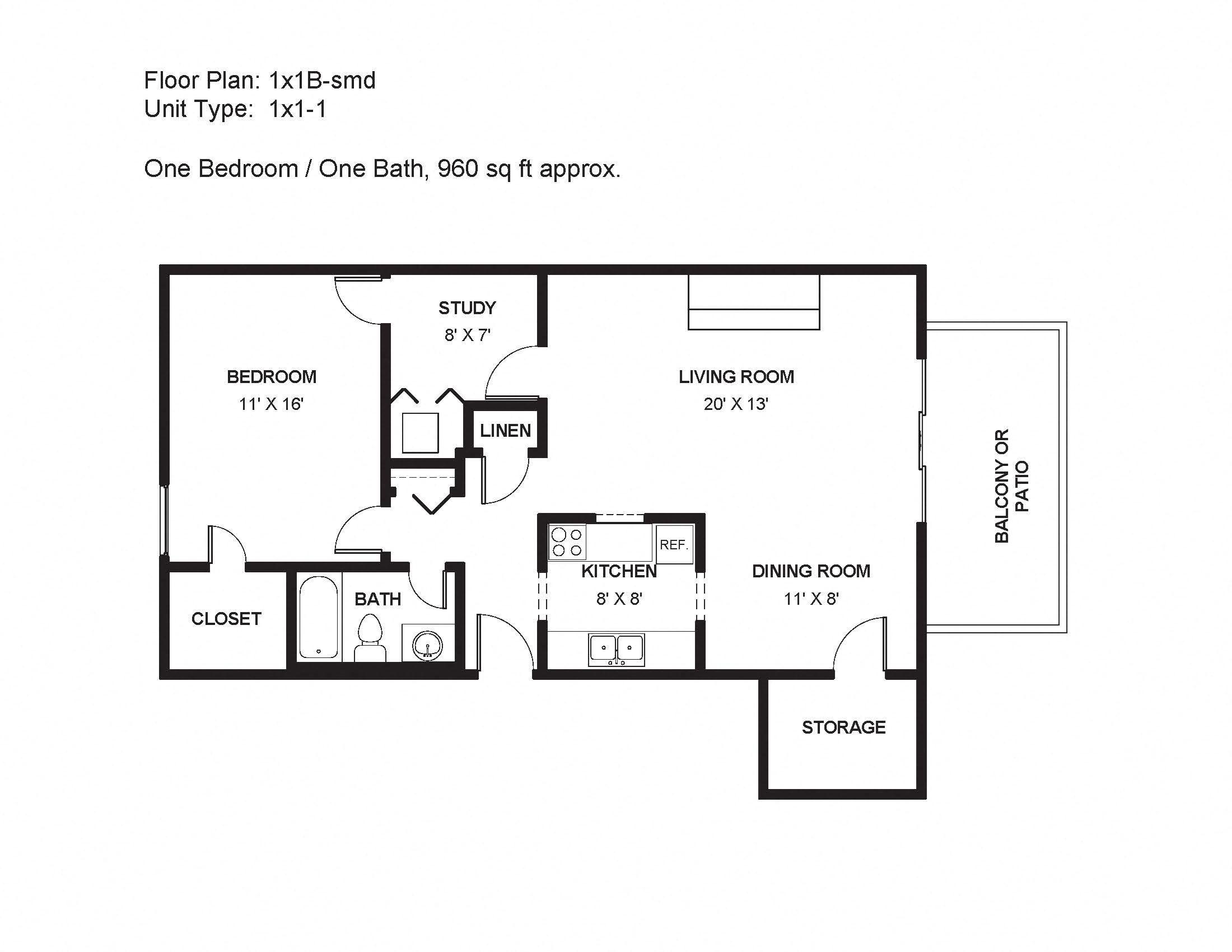 1x1B-smd Floor Plan 4