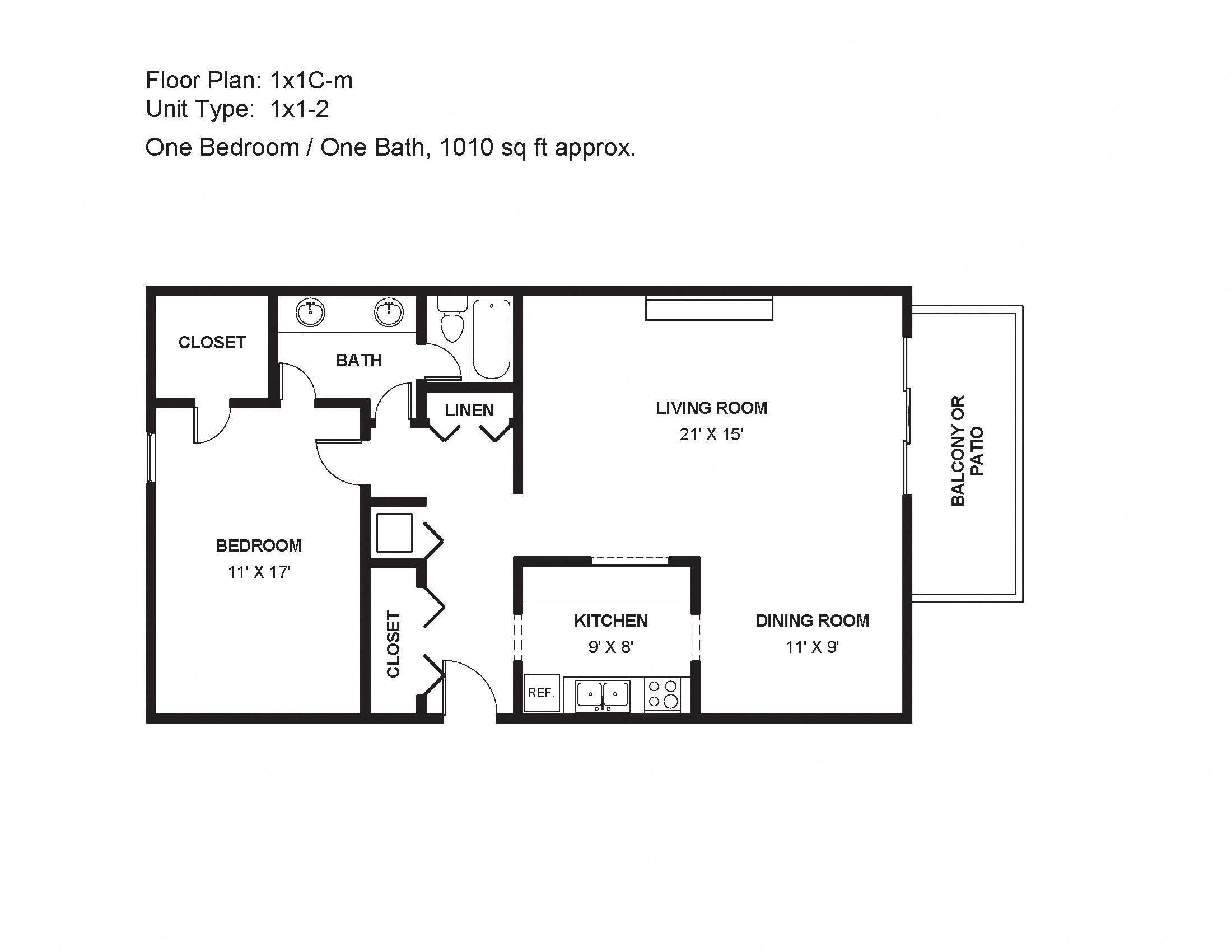 1x1C-m Floor Plan 5