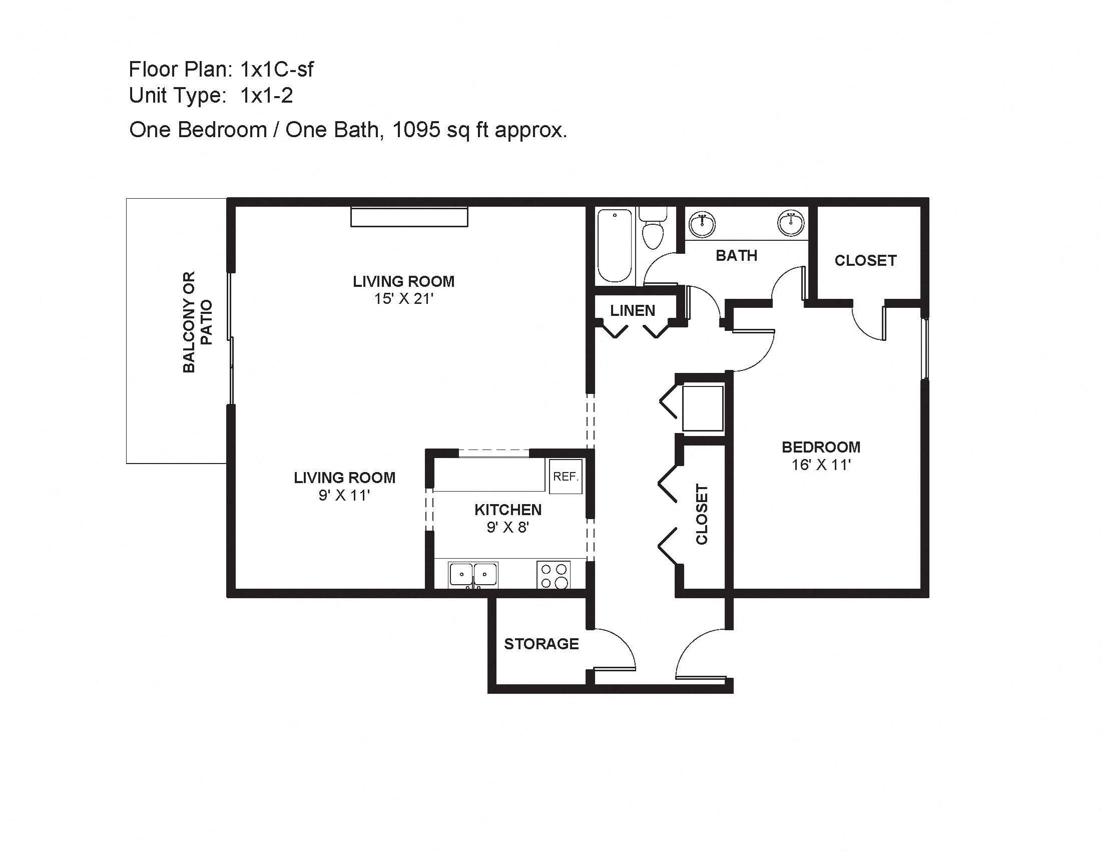 1x1C-sf Floor Plan 6