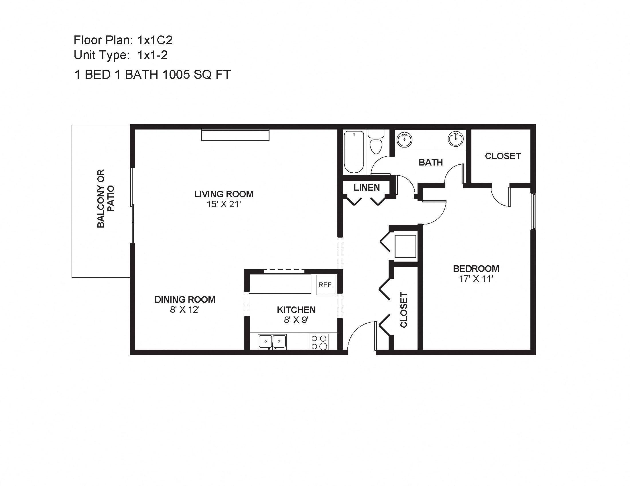 1x1C2 Floor Plan 4