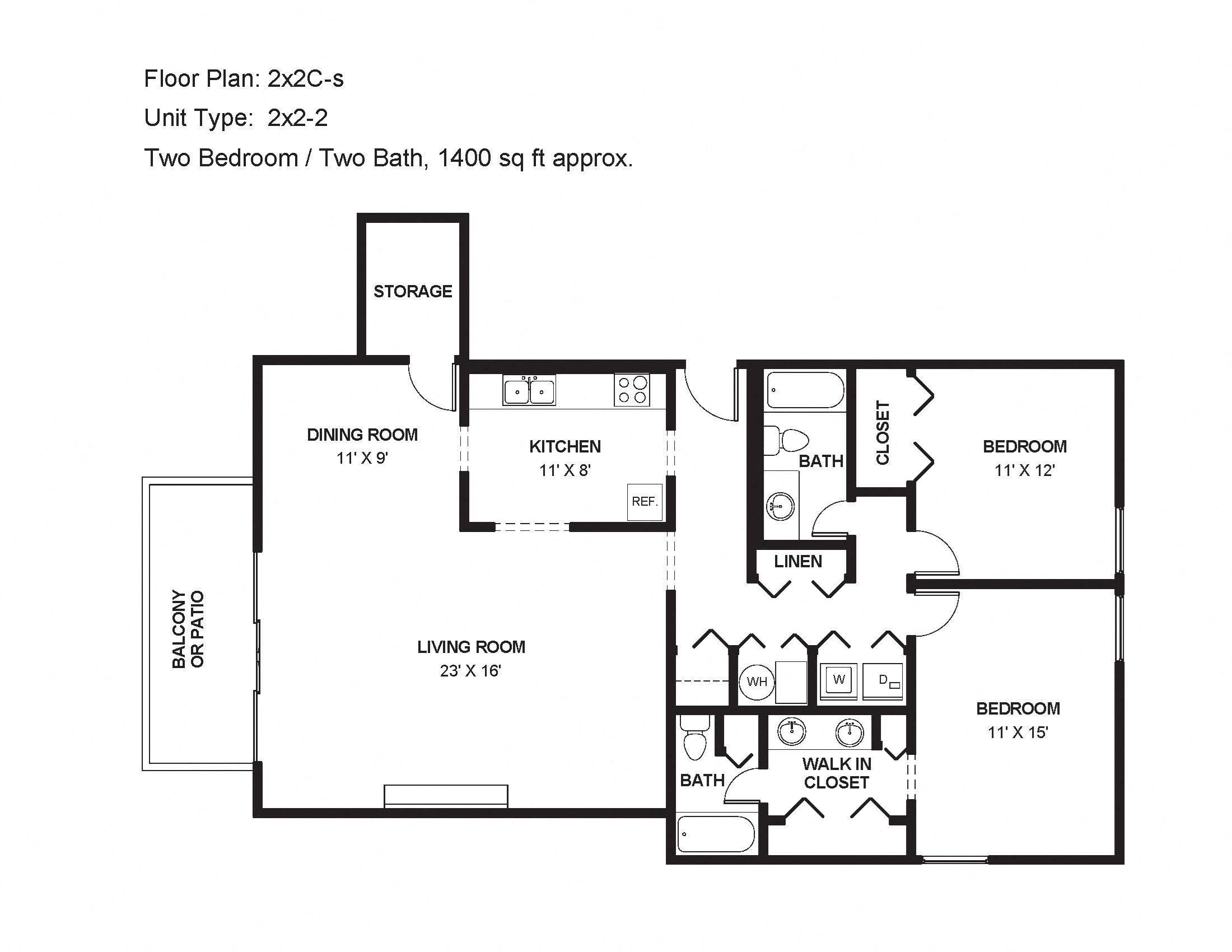 2x2C-s Floor Plan 8