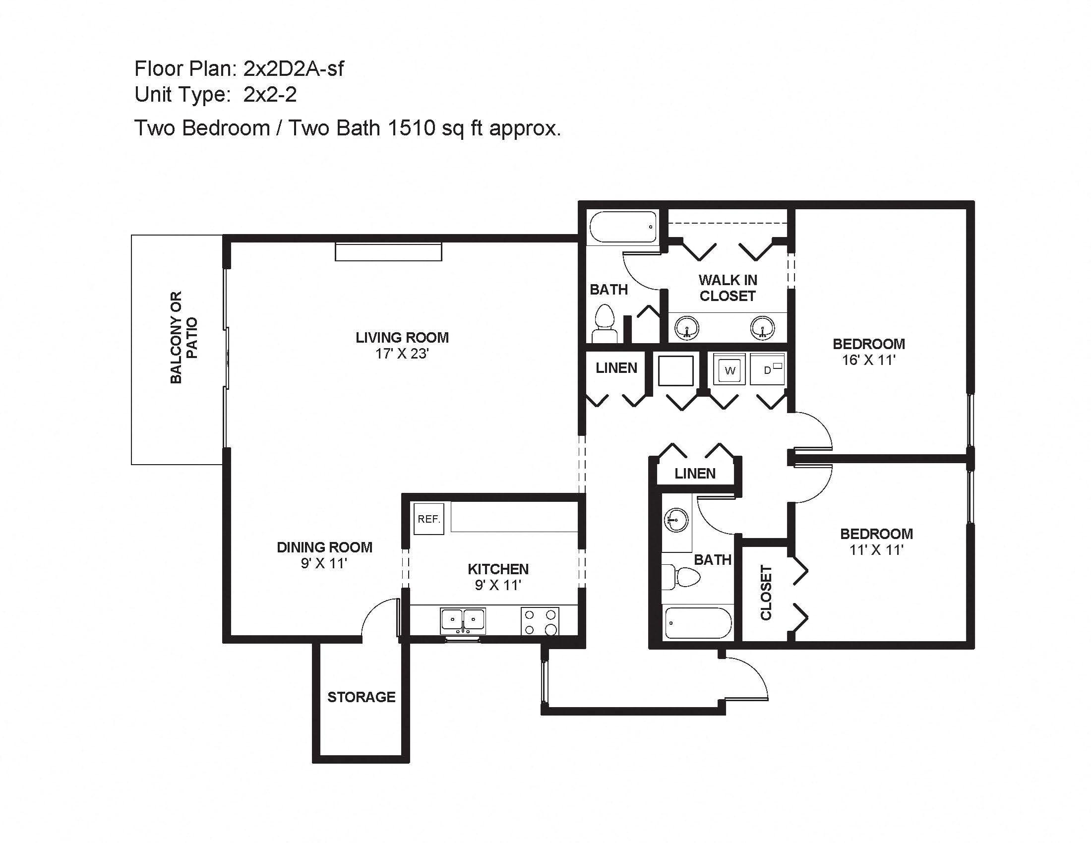 2x2D2A-sf Floor Plan 14