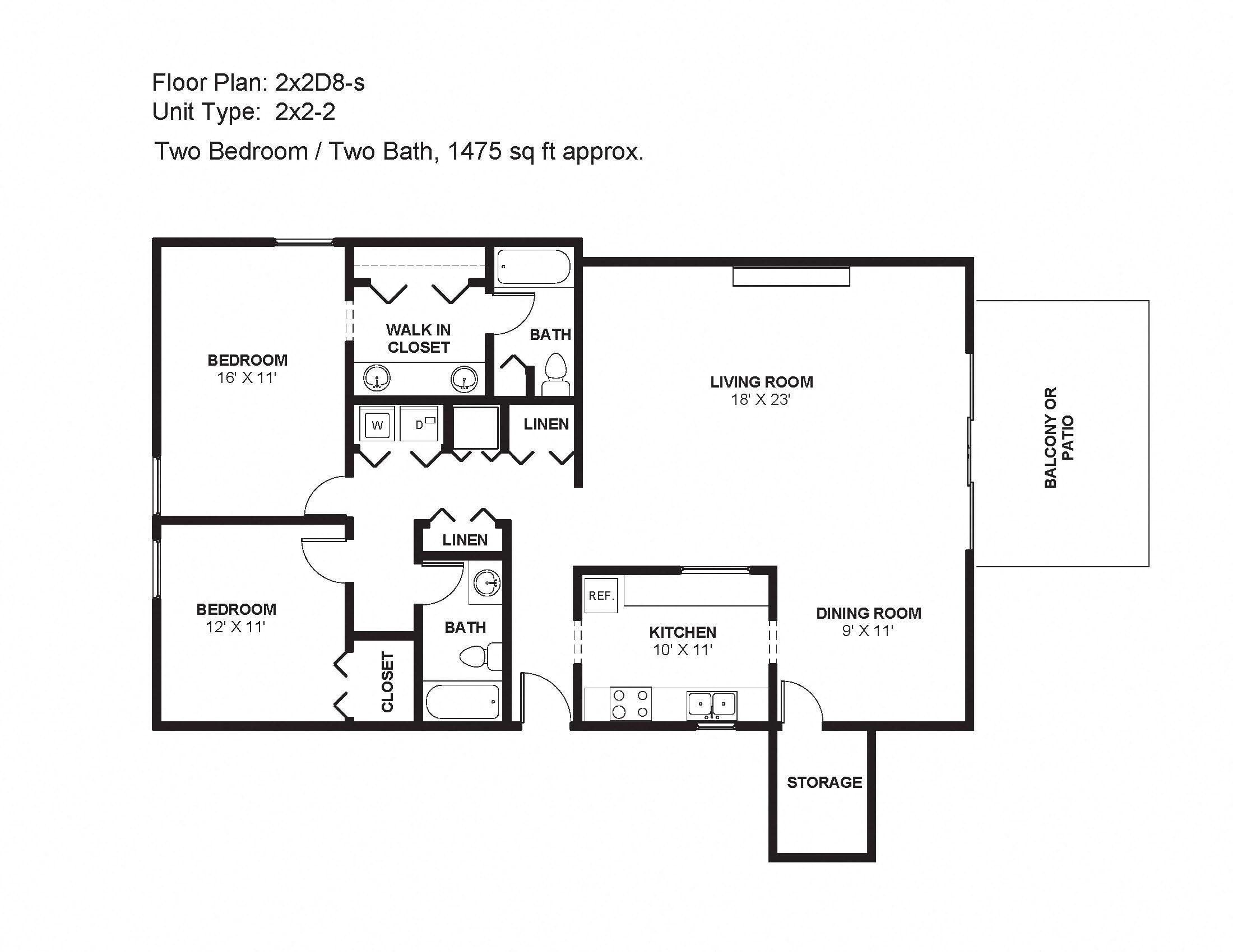 2x2D8s Floor Plan 24