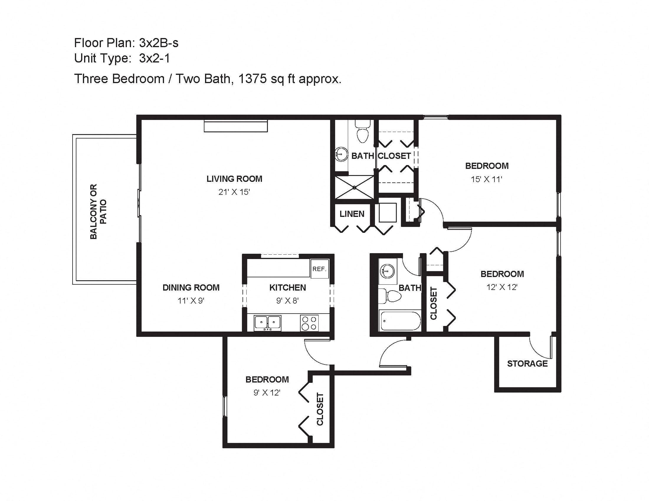 3x2B-s Floor Plan 32