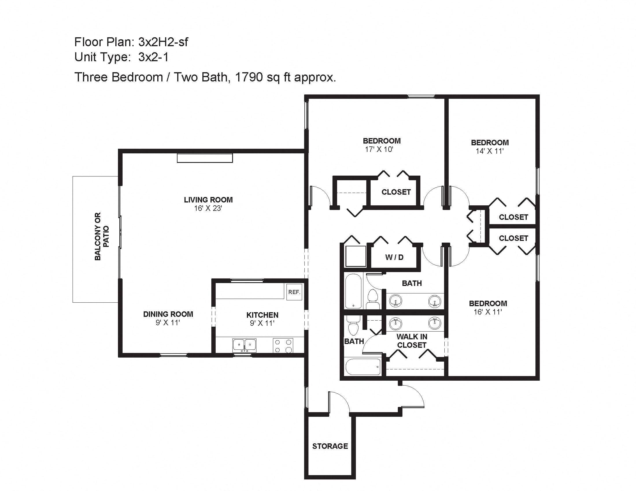 3x2H2-sf Floor Plan 35