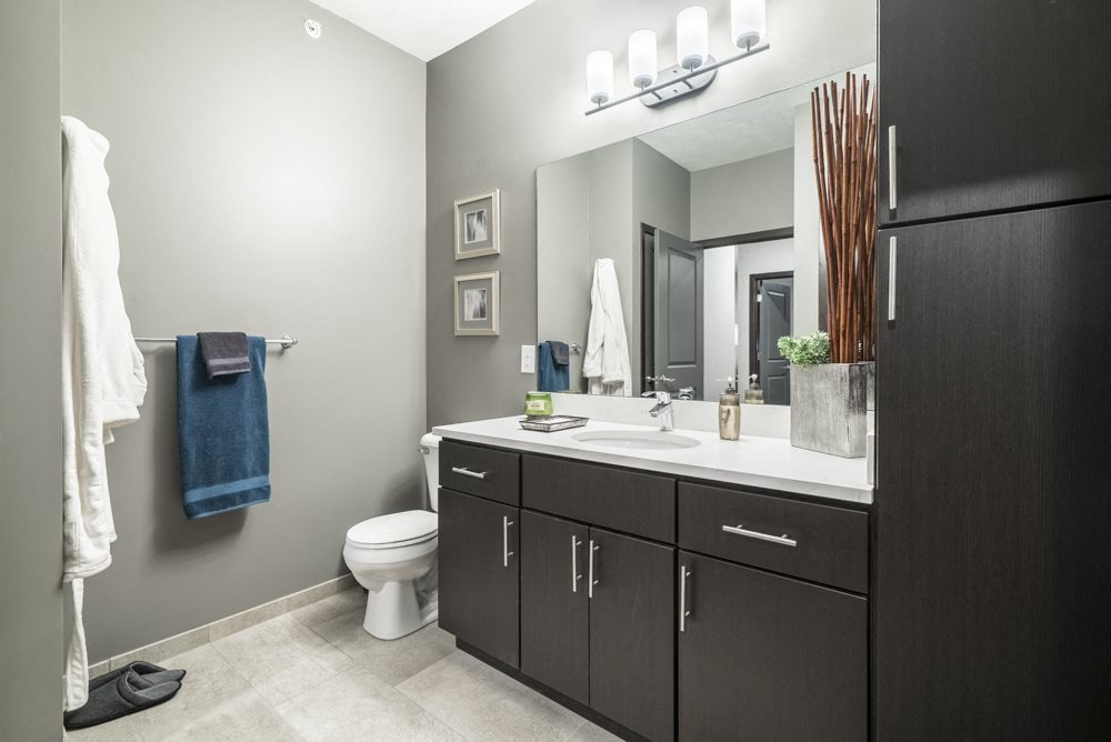 Traditional design scheme bathroom with dark cabinetry and quartz countertops-The Conrad apartments