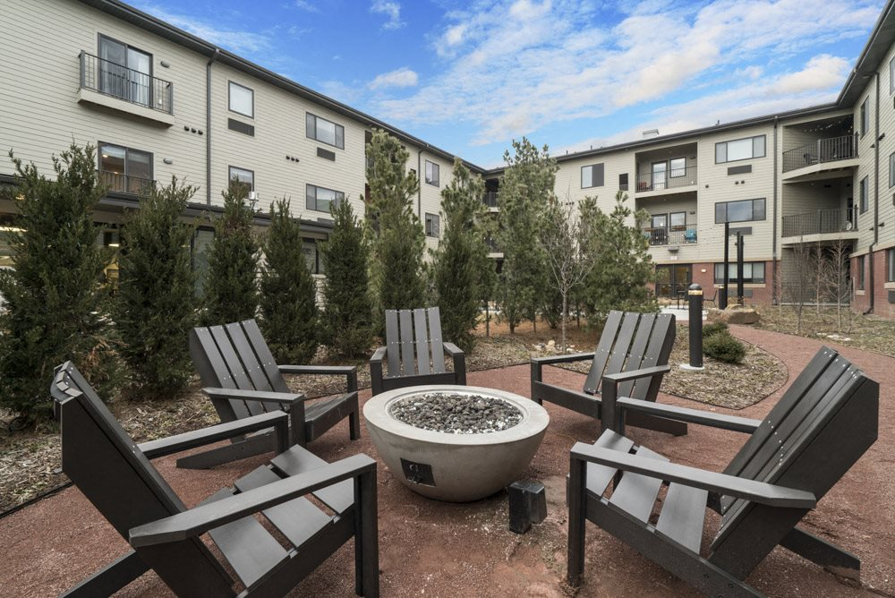 Firepit with seating at The Conrad near UNMC in midtown Omaha NE