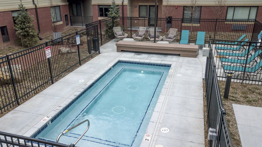 Oversized pool/hot tub at The Conrad in the blackstone district in Omaha NE