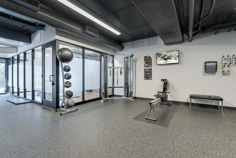 Large fitness center at The Conrad near UNMC in the Blackstone District Omaha NE 68105