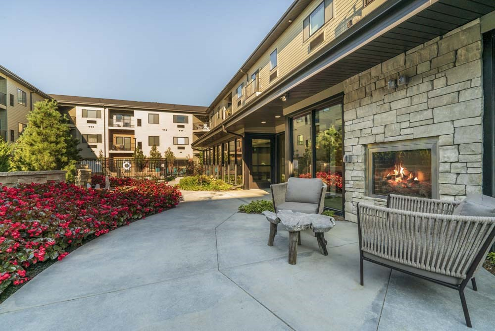 Private park with outdoor fireplace at The Conrad near UNMC in the Blackstone District Omaha NE 68105