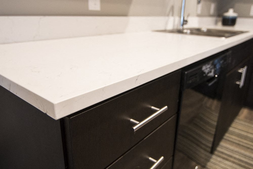 White quartz countertops at The Conrad in Omaha
