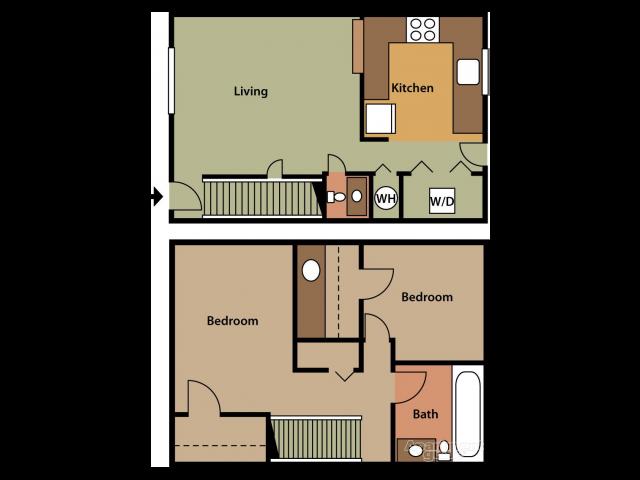 2 beds 1.5 baths Floor Plan 1