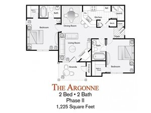 The 2-bed, 2-bath Argonne floor plan is 1225 sq. ft. at Lakeside at Arbor Place apartments in Douglasville, GA