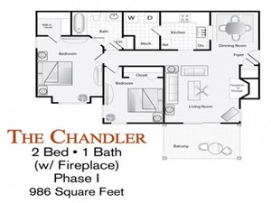 The 2-bed, 1-bath Chandler floor plan (with fireplace) is 986 sq. ft. at Lakeside at Arbor Place apartments in Douglasville, GA