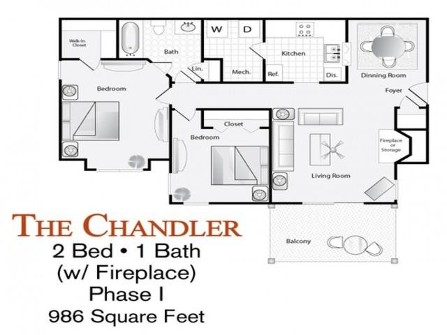 The 2 Bed 1 Bath Chandler Floor Plan With Fireplace Is
