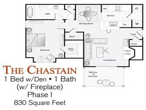 The 1-bed, 1-bath Chastain floor plan (with fireplace) is 986 sq. ft. at Lakeside at Arbor Place apartments in Douglasville, GA