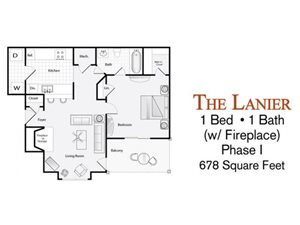 The 1-bed, 1-bath Lanier floor plan (with fireplace) is 678 sq. ft. at Lakeside at Arbor Place apartments in Douglasville, GA