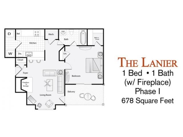 The 1 Bed Bath Lanier Floor Plan With Fireplace Is