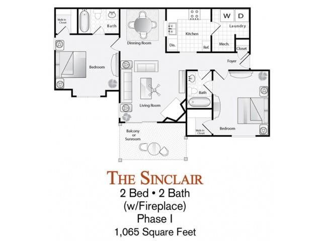 2-bed, 2-bath Sinclair floor plan (with fireplace) is 1,065 sq. ft. at Lakeside at Arbor Place apartments in Douglasville, GA