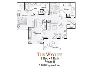 The 2-bed, 1-bath Wycliff floor plan is 1090 sq. ft. at Lakeside at Arbor Place apartments in Douglasville, GA