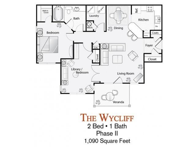 The 2 Bed 1 Bath Wycliff Floor Plan Is 1090 Sq Ft