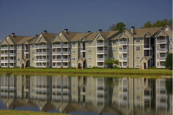Apartments overlooking the beautiful six-acre lake at Lakeside at Arbor Place apartments in Douglasville, GA