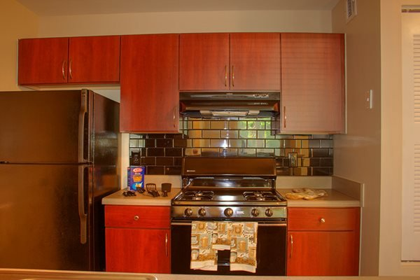 Ceramic tile kitchen backsplash is just one of the many amenities at Lakeside at Arbor Place apartments in Douglasville, GA
