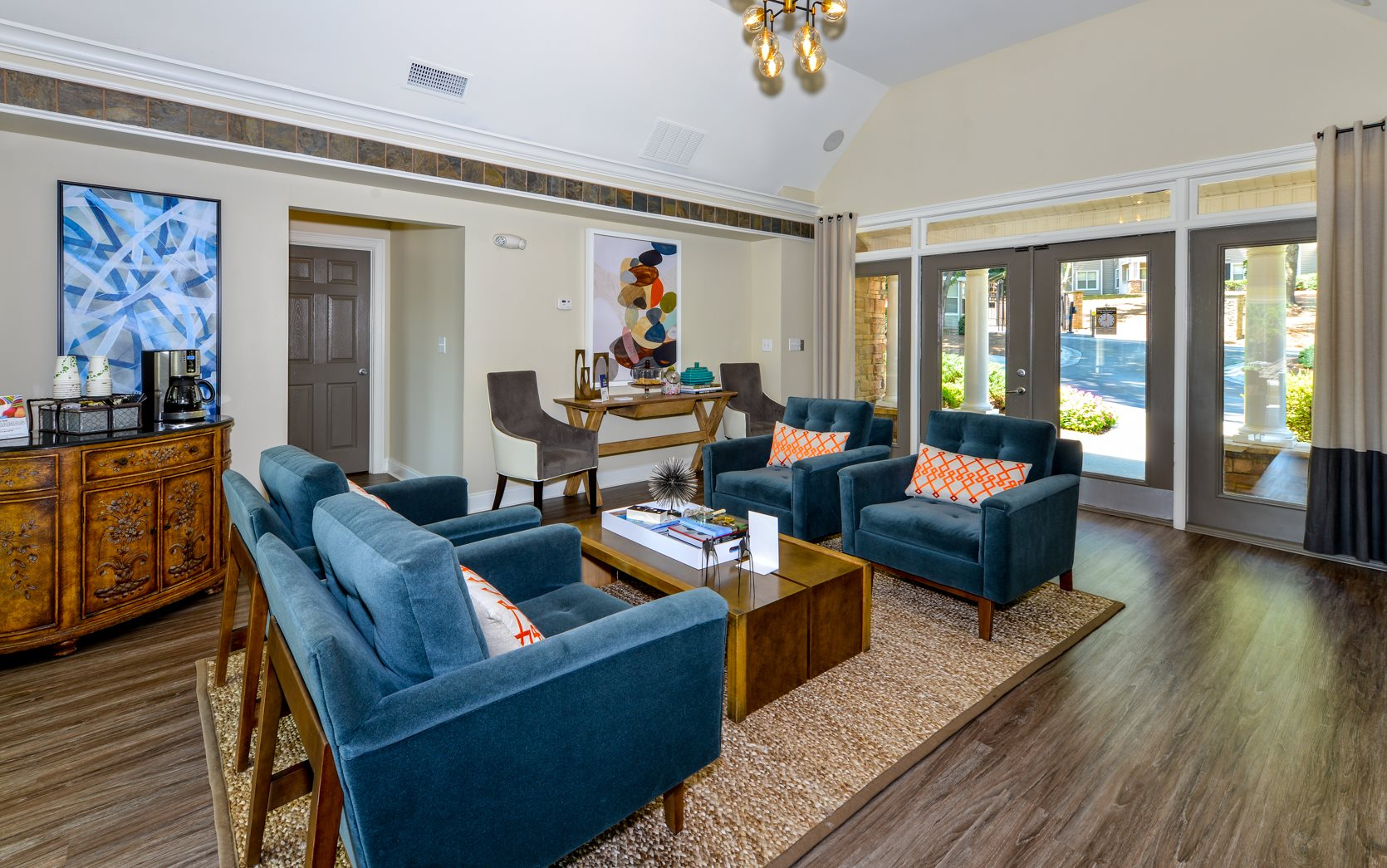 Luxurious Lobby Area With Community Seating And Coffee At Lakeside Arbor Place Apartments In Douglasville