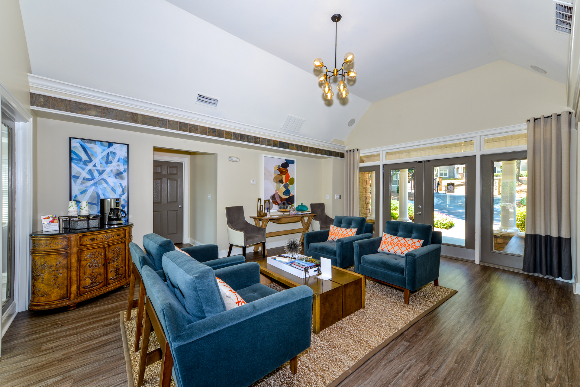 Luxurious Lobby Area With Community Seating And Coffee At Lakeside At Arbor  Place Apartments In Douglasville