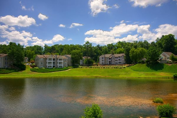 Beautiful panoramic view of the six-acre lake at Lakeside at Arbor Place Apartments in Douglasville, GA