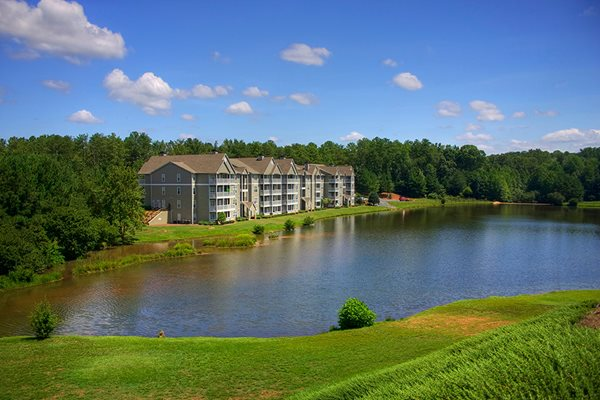 The beautiful six-acre lake sits in front of the apartments at Lakeside at Arbor Place apartments in Douglasville, GA