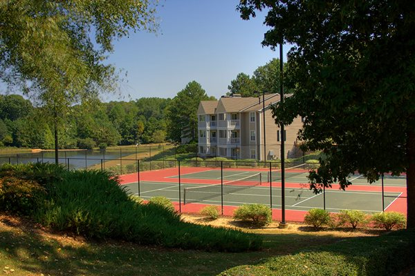 Two Well Lit Tennis Courts To Play On Day Or Night At Lakeside Arbor