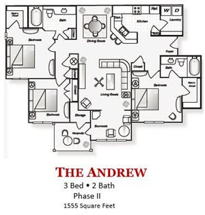 The 3-bed, 2-bath revised Andrew floor plan is 1555 sq. ft. at Lakeside at Arbor Place apartments in Douglasville, GA