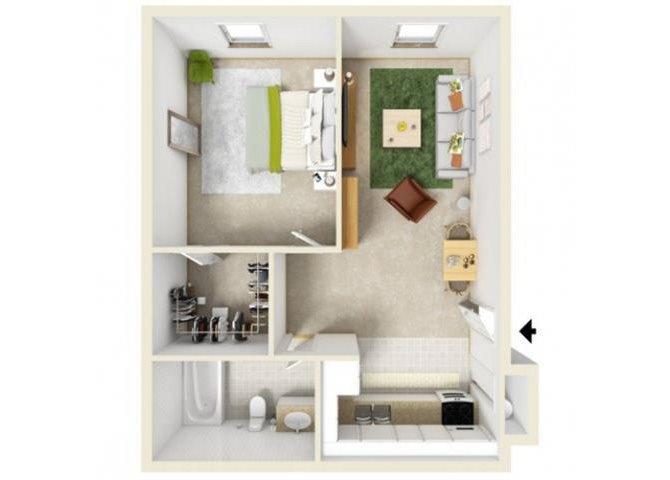 One Bedroom 1st Floor Floor Plan 1