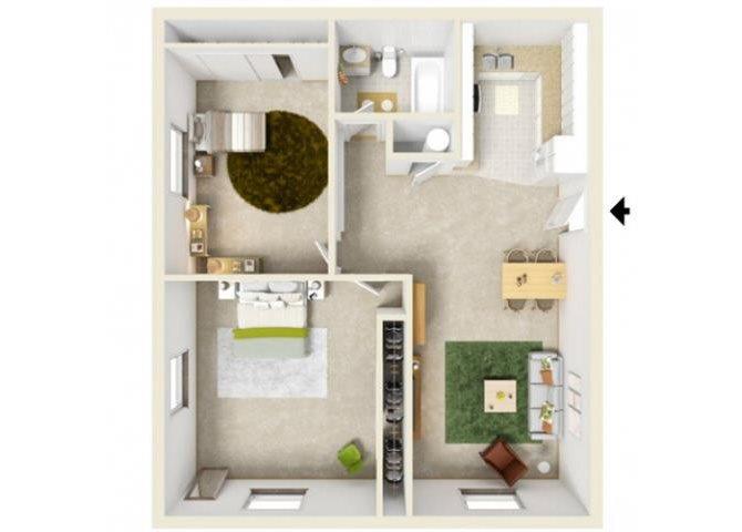 One Bedroom 2nd Floor w-Den Floor Plan 4